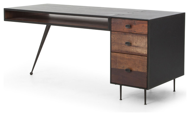 Forman Retro Modern Industrial Loft Metal Wood 3 Drawer Desk - Industrial - Desks And Hutches ...