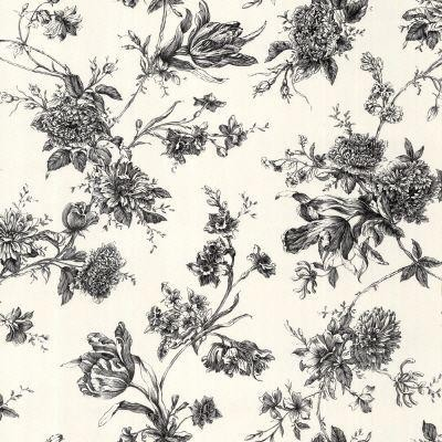 Black and white large floral wallpaper traditional - Floral wallpaper home depot ...