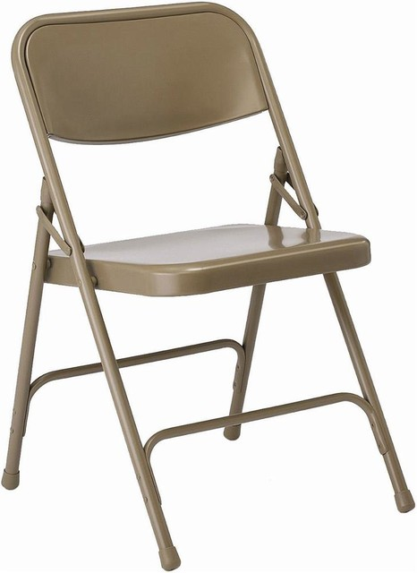 All Steel Folding Chair in Beige Set of 4 Black Contemporary Folding