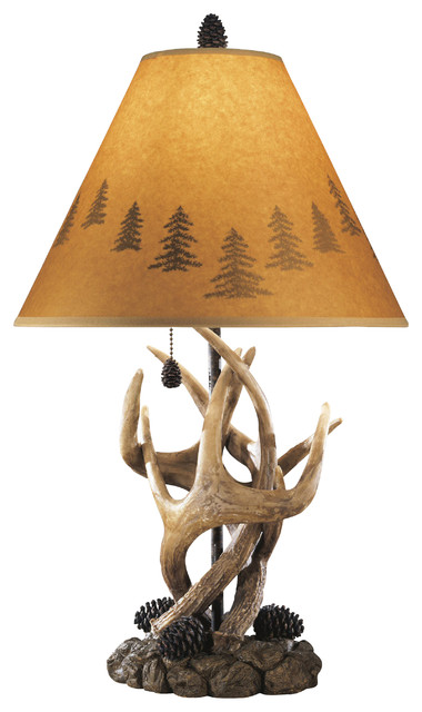 Rustic Faux Antlers And Pine Table Lamps Set Of 2