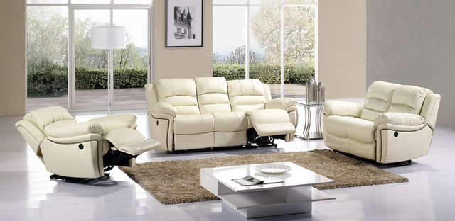 Ivory Leather Dual Reclining Sofa Loveseat Recliner Motion