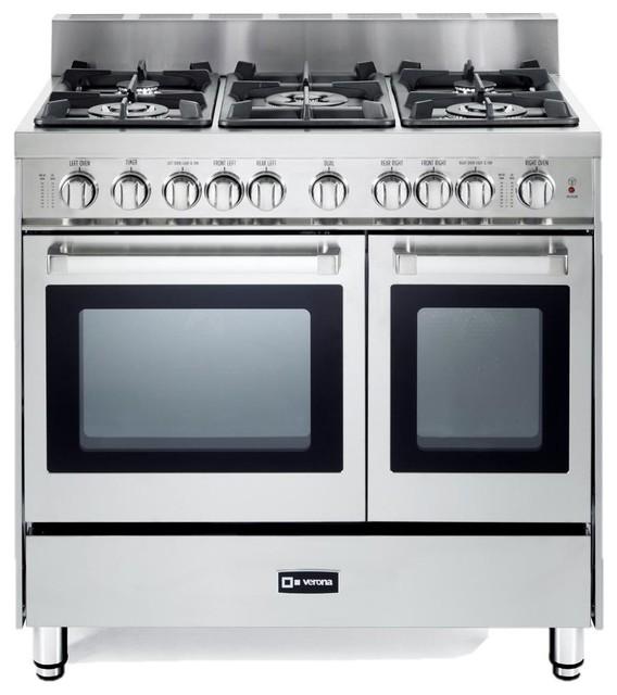 Verona VEFSGG365NDSS 36-Inch 5-Burner Double Oven Gas Range - Stainless Steel modern-gas-ranges ...