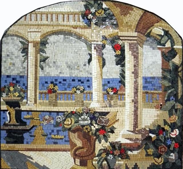 Marble Floor Tile Mosaic Murals : Natural scene stone tuscan mosaic mural