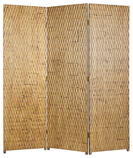 Gilded 3 panel bamboo screen contemporary screens and for Hanging bamboo privacy screen