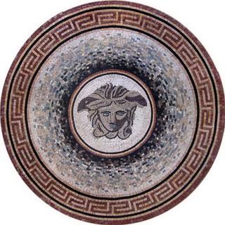 handmade stone medallion medusa mediterranean floor medallions