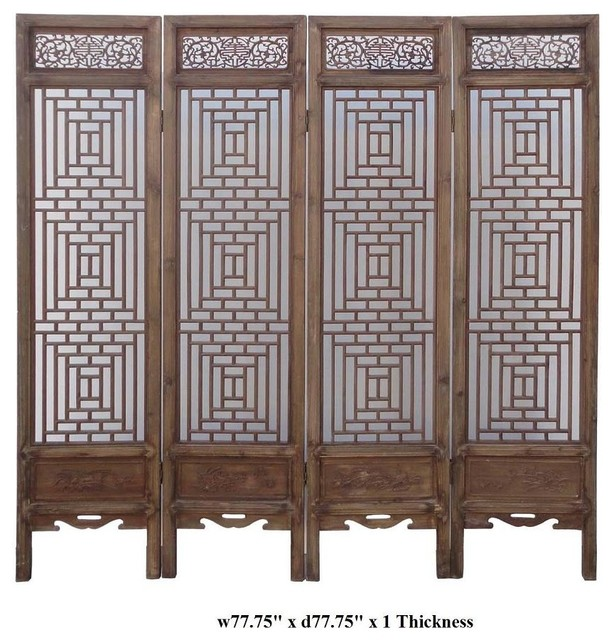 Vintage chinese two sided four season motif wooden room