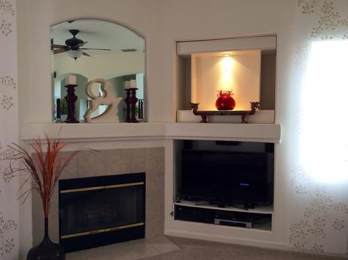 fireplace next to tv niche