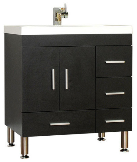 Single Modern Bathroom Vanity Black 29 5 X 33 Without Mirror Modern Ba