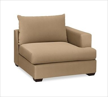 Hampton Upholstered Right Armchair Brushed Canvas Walnut