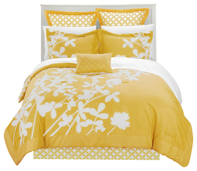 queen size turquoise 7 piece floral bed in a bag comforter set yellow king beach style. Black Bedroom Furniture Sets. Home Design Ideas