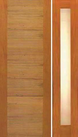 Single door one sidelite contemporary horizontal groove for Door design with groove