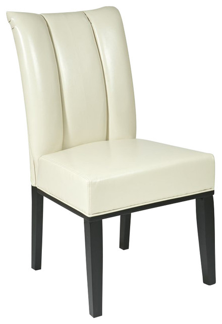 Office Star Metro Pleated Back Dining Parsons Chair In Cream Transitional