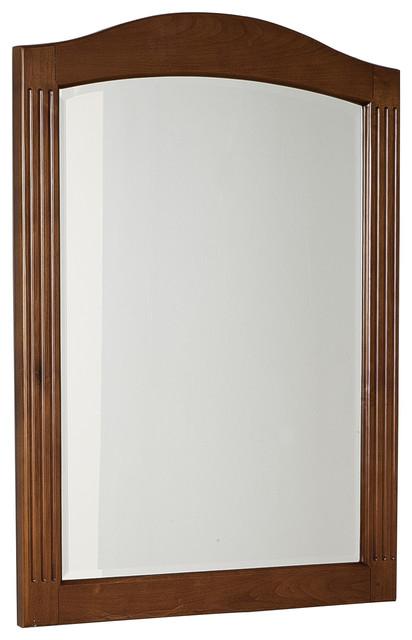 Traditional Birch Wood Veneer Wood Mirror In Cherry 24 X32 Traditional Bathroom Mirrors