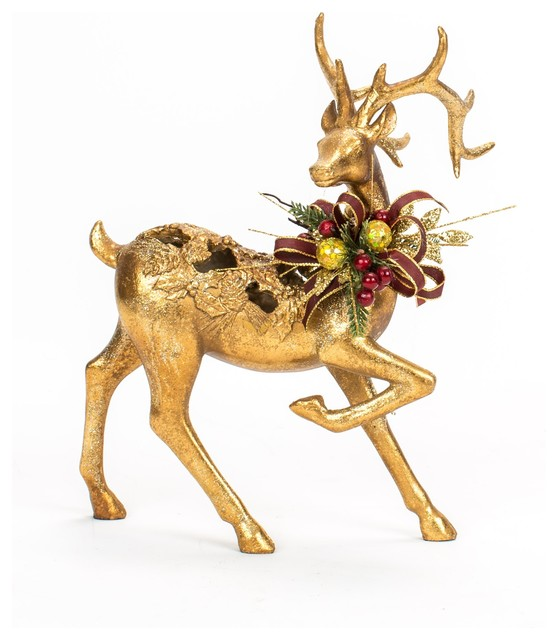 gold reindeer christmas decoration home decorating ideas - Christmas Deer Decor