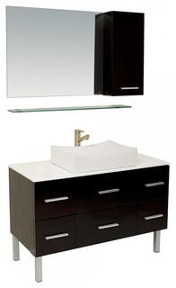 Fresca Distante Espresso Bathroom Vanity With Mirror And Side Cabinet