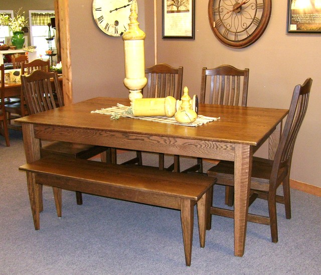 alder table with matching bench rustic dining room
