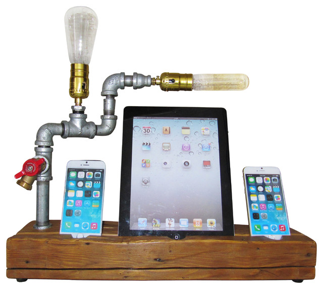 Steampunk iPhone and iPad Docking Station With Light - Rustic - Home Electronics - by East Coast ...