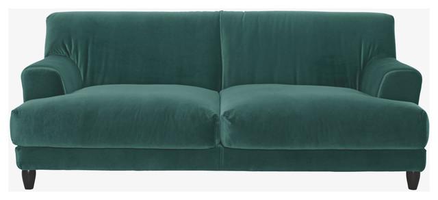 Askem emerald green velvet 3 seater sofa modern sofas for Emerald green sectional sofa