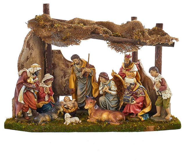 Nativity Set With 11 Figures And Stable Holiday Accents And Figurines By Kurt S Adler Inc