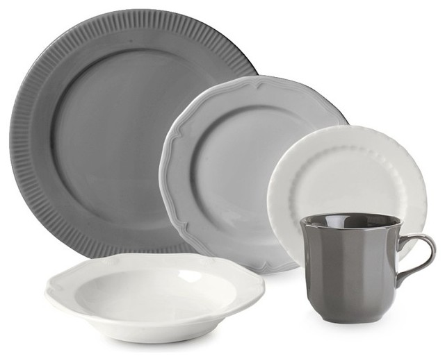 Eclectique Dinnerware Place Setting Mixed Gray Set
