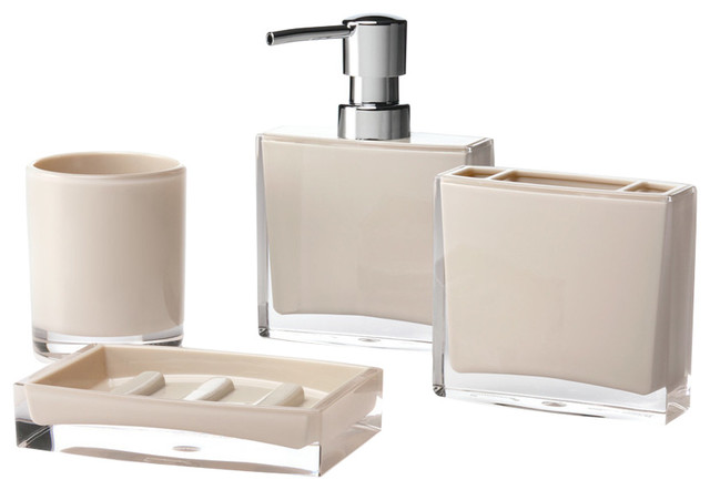 Iced 4 piece bathroom accessory set beige modern for Beige bathroom set