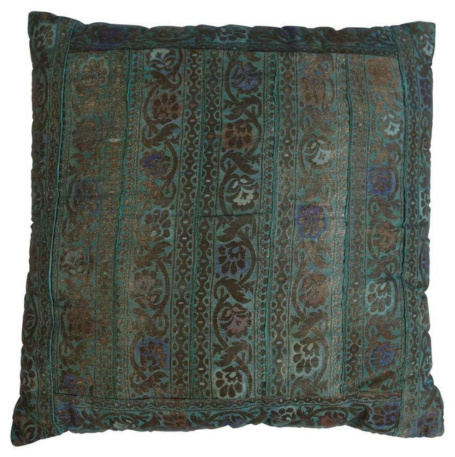 Decorative Pillows Retail : Aqua and Green Floral Pillow with Velvet Back - $100 Est. Retail - $25 on Chairi