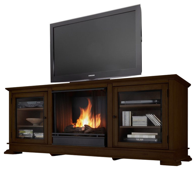 Real Flame Hudson Ventless Gel Fireplace And Tv Stand In Espresso Transitional Indoor