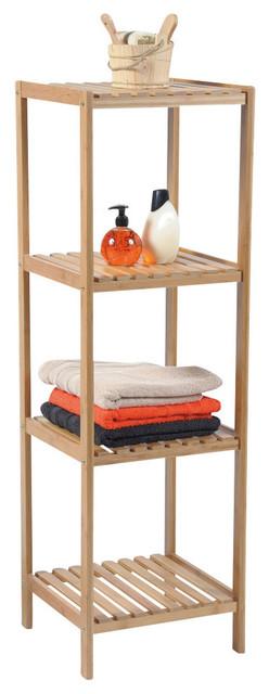 Bamboo 4-Shelf Bathroom Tower - Contemporary - Bathroom Cabinets And ...