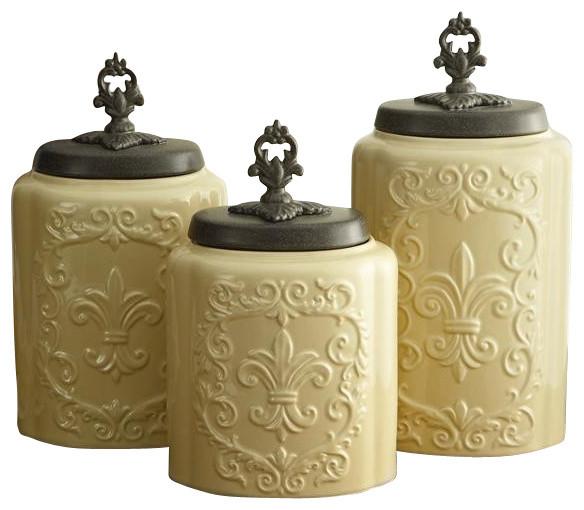 Farmhouse Kitchen Canister Sets: Antique Fleur De Lis Cream Canister Set Of 3