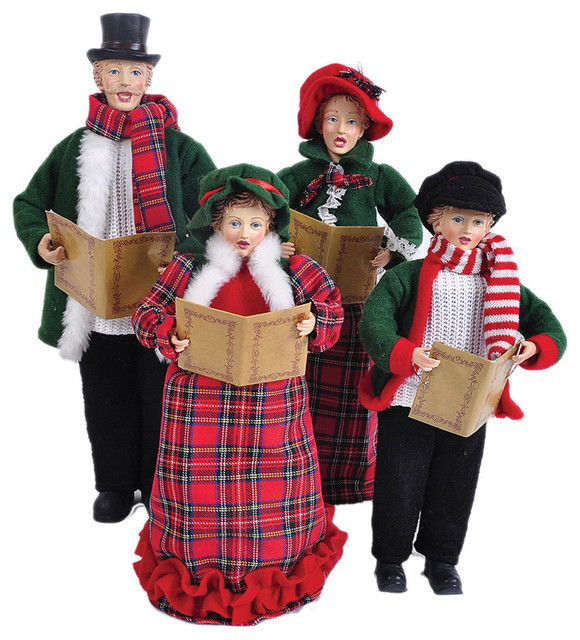 Christmas Carolers Yard Decorations: Red Plaid Carolers, 18""