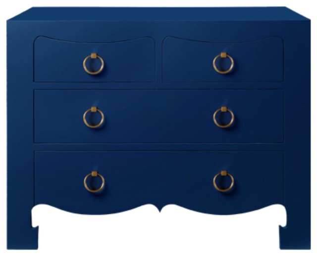bungalow 5 jacqui 4 drawer chest in navy blue. Black Bedroom Furniture Sets. Home Design Ideas