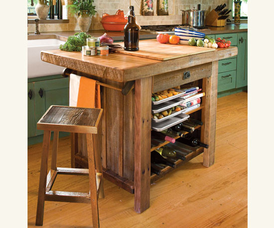 American barn wood kitchen island traditional kitchen for Mesa cocina rustica