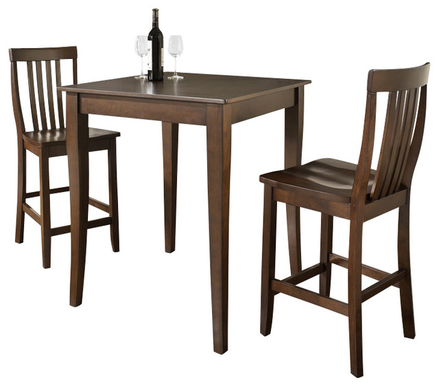 3 Pc Pub Dining Set W School House Stools In