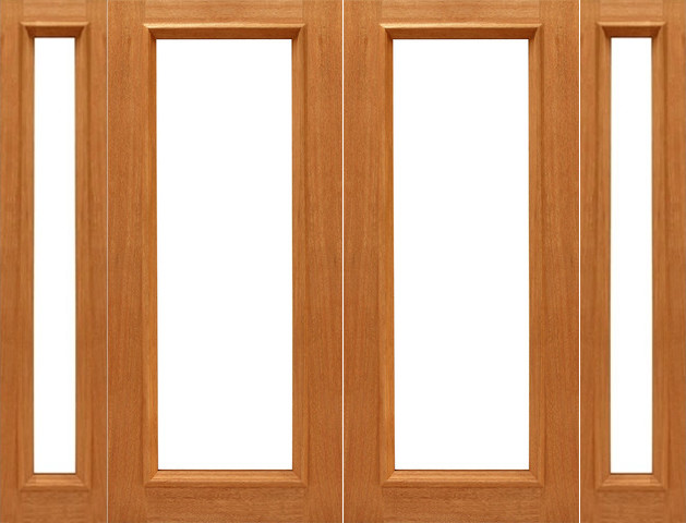 Pre hung 1 lite r m french brazilian mahogany ig glass for Double hung exterior french doors