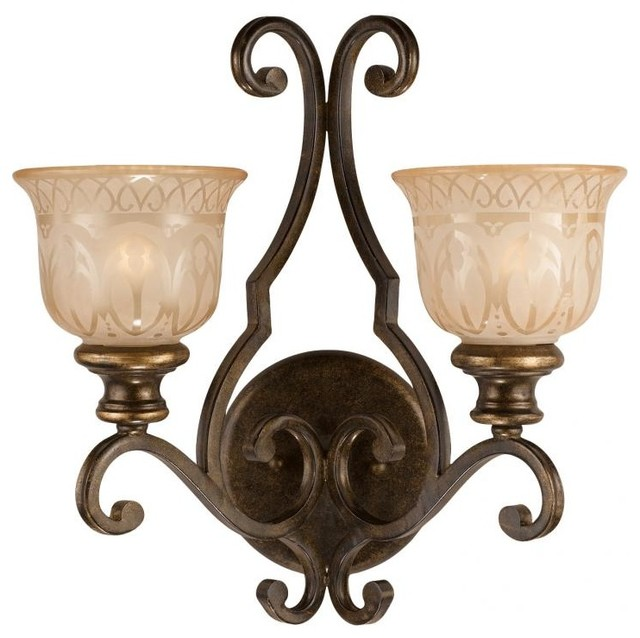 Etched Glass Wall Lights : Norwalk Two Light Bronze Umber Amber Etched Glass Wall Light - Transitional - Wall Sconces - by ...