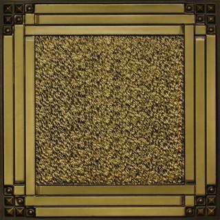 """Deco Corners - Faux Tin Ceiling Tile - 24""""x24"""" - #209 (antique brass)"""
