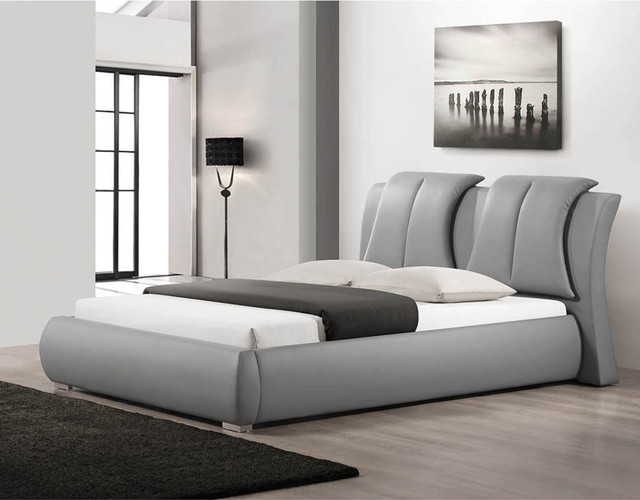 Malloy Gray Modern Bed With Upholstered Headboard Queen Size