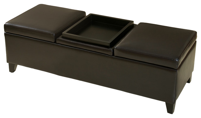 Fullerton Storage Ottoman Bench With Center Coffee Table Contemporary Footstools And
