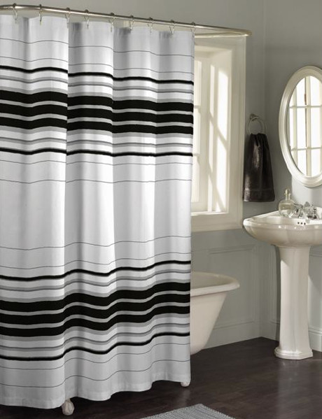 Horizontal Stripe Fabric Shower Curtain Contemporary Shower Curtains By