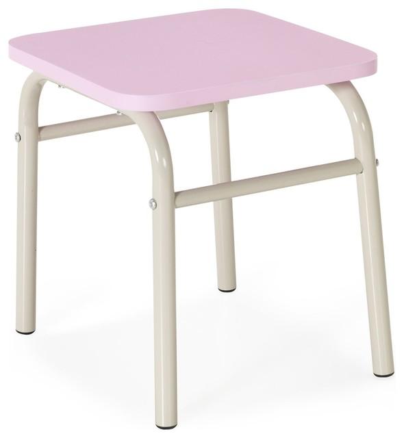 Tubilo tabouret rose en m tal pour enfant r tro marche - Marche pied pour enfant ...