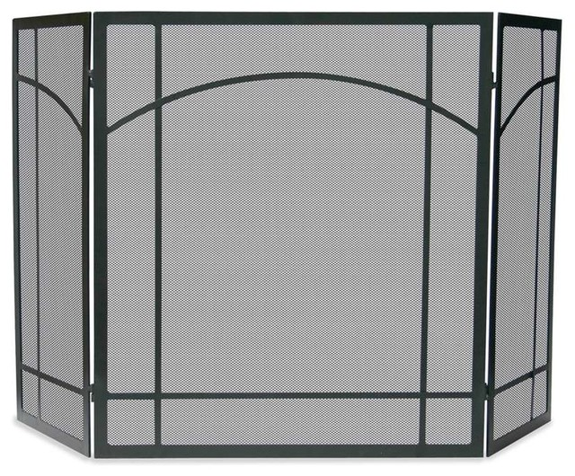 Uniflame 3 fold black wrought iron mission screen transitional fireplace screens by shopfreely - Houzz fireplace screens ...