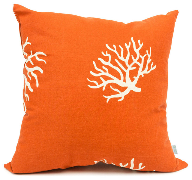 Burnt Orange Outdoor Throw Pillows : Outdoor Burnt Orange Coral Large Pillow - Tropical - Outdoor Cushions And Pillows - by Majestic ...
