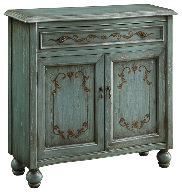 Teal Detailed Accent Cabinet mediterranean-accent-chests-and-cabinets