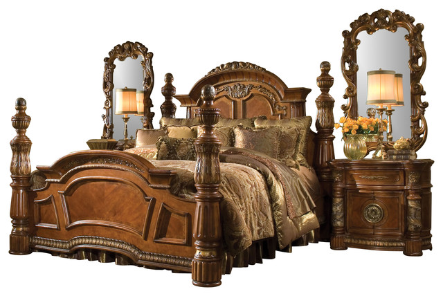 4 Piece Villa Valencia California King Size Low Post Bedroom Set Victorian Bedroom Furniture
