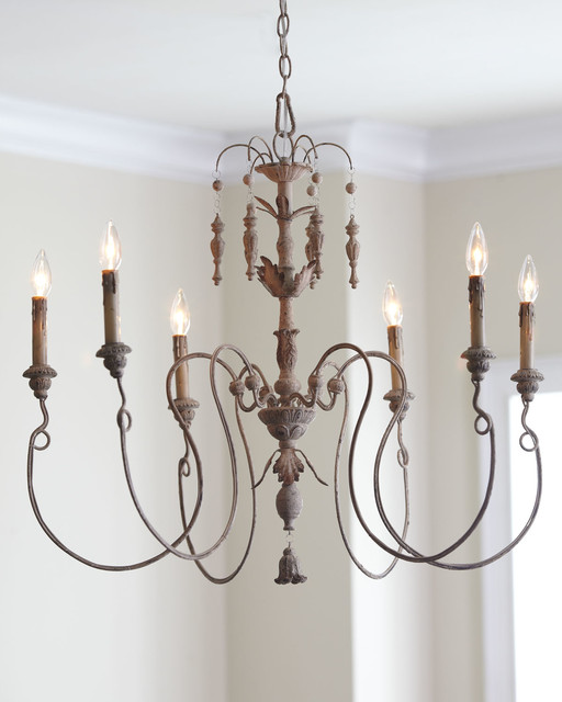 Salento Six-Light Chandelier With Wood Country Home