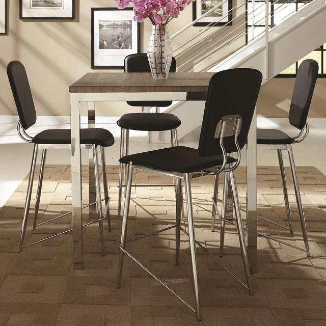 Coaster eldridge 5 piece chrome base square counter height for 10 piece kitchen table set