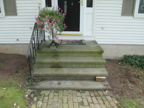 how to build wooden stairs over existing cement 2