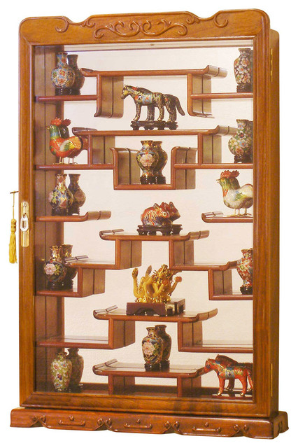 Rosewood wall curio display cabinet asian accessories for Asian furniture westmont il