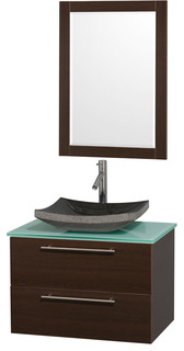 Amare 30 Espresso SGL Vanity Green Glass Top Altair Sink 24 Mr