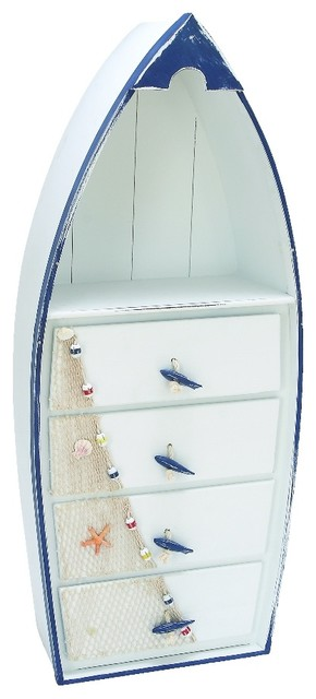 Wooden Contemporary Boat Cabinet With Sea Theme, Blue And White - Beach Style - Dressers - by ...